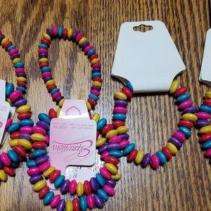 Wooden Rainbow Bead Stretch Costume Bracelet Lot